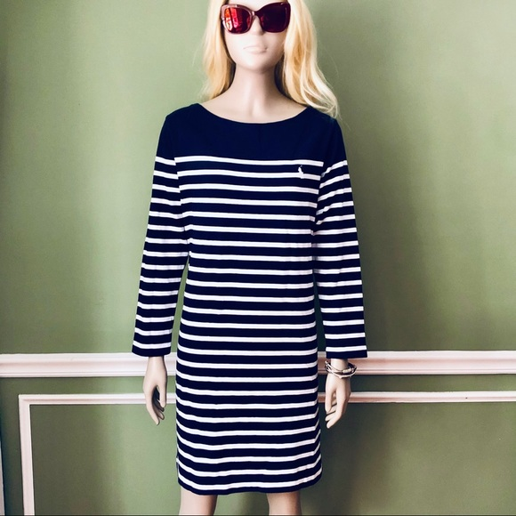 POLO|RL Navy and White Striped Sweater Dress, L
